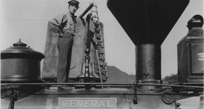 Buster Keaton en el rodaje de El maquinista de la General | Copyright A Contracorriente